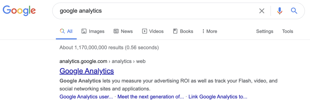 Google analytics on search results