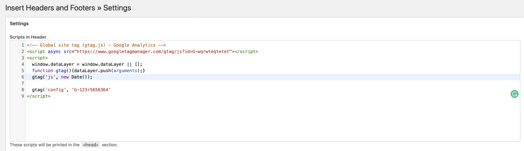 Gtag in Insert headers and footer plugin